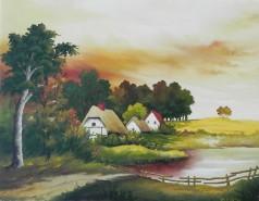 Picturi cu peisaje Casute in padure 2