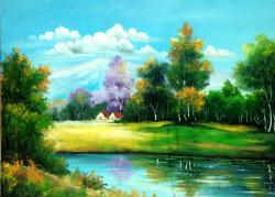 Picturi cu peisaje Casute in padure primavara