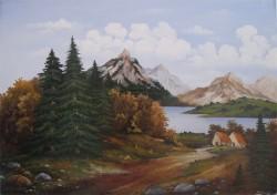 Picturi cu peisaje Casute la munte