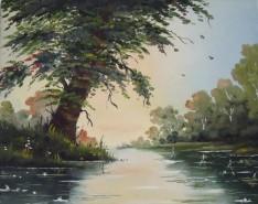 Picturi cu peisaje Copac la malul apei