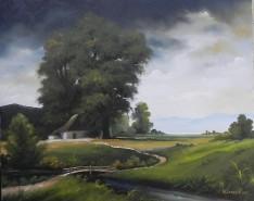 Picturi cu peisaje Inceput de furtuna in camp