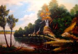 Picturi cu peisaje Peisaj de vara cu lac