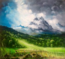 Picturi cu peisaje Pictura cu munti in departare
