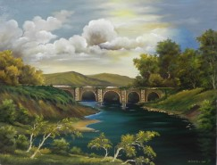 Picturi cu peisaje Pod de piatra in padure 1