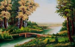 Picturi cu peisaje Pod de piatra peste apa