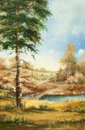 Picturi cu peisaje Podet in padure 1988