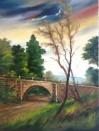 Picturi cu peisaje Podet prin padure