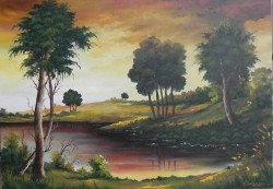 Picturi cu peisaje Toamna in amurg la lac