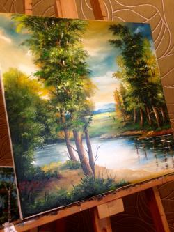 Picturi cu peisaje Un peisaj pe sevalet