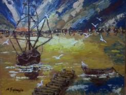 Picturi cu peisaje Joc de lumini la apus