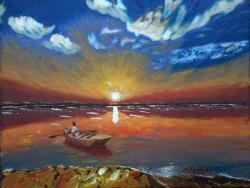 Picturi cu peisaje Rasarit la malul marii...