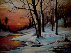 Picturi cu peisaje Apus de iarna