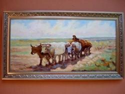 Picturi cu peisaje carul cu boi3