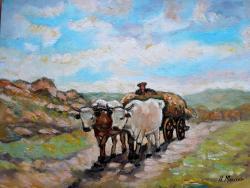 Picturi cu peisaje Car cu boi 02