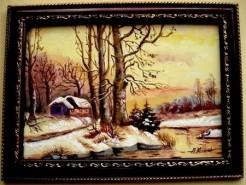 Picturi cu peisaje Iarna in padure1