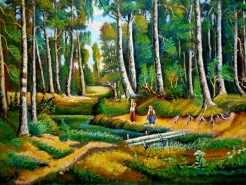 Picturi cu peisaje Padure de mesteacani