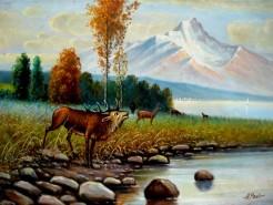 Picturi cu peisaje Peisaj cu cerb