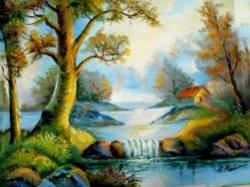 Picturi cu peisaje peisaj Mica cascada