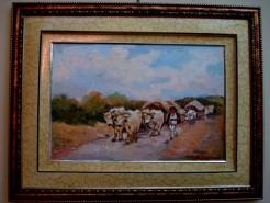Picturi cu peisaje Tablou carul cu boi 01