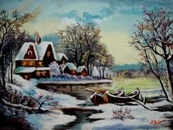 Picturi cu peisaje Tablou iarna albastra