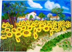 Picturi cu peisaje Cimp cu floarea soarelui