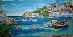 Picturi cu peisaje Port la marea mediterana