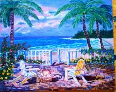 Picturi cu peisaje Terasa la mare