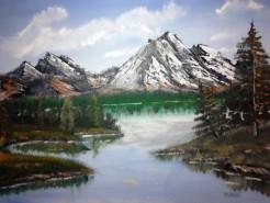 Picturi cu peisaje La munte pe lac