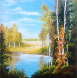 Picturi cu peisaje Lac in mijlocul padurii