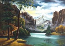 Picturi cu peisaje Lac intre munti