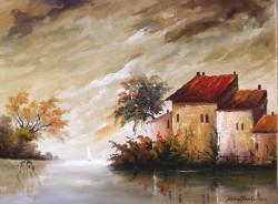 Picturi cu peisaje Peisaj cu barcute