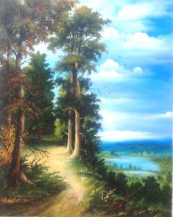 Picturi cu peisaje Peisaj de vara in padure