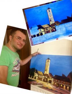 Picturi cu peisaje Sibiu noaptea