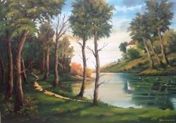 Picturi cu peisaje Vila la lac