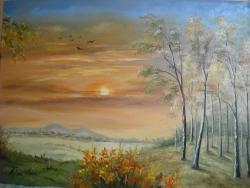 Picturi cu peisaje apus de soare toamna