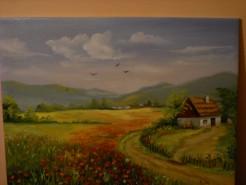 Picturi cu peisaje Camp inflorit