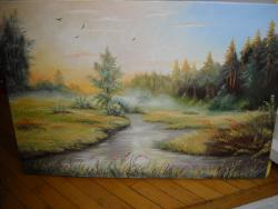 Picturi cu peisaje dimineata cu ceata