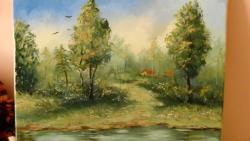 Picturi cu peisaje lacul din padure 3