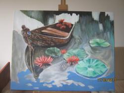 Picturi cu peisaje Barca cu nuferi
