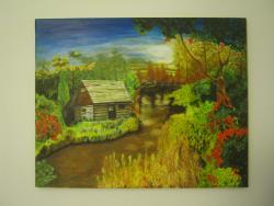 Picturi cu peisaje Cabana in natura