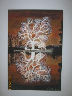 Picturi cu peisaje Nocturna in oglinda