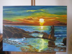 Picturi cu peisaje Romanta la apus
