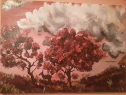 Picturi cu peisaje Rosu