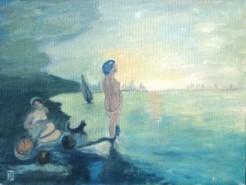 Picturi cu peisaje Personaje cu caine in amurg la mare