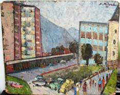 Picturi cu peisaje Peisaj urban, ulei pe carton, pictor neculai milord