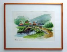 Picturi acuarela Peisaj de munte