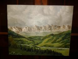 Picturi cu peisaje Drum printre munti