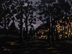 Picturi cu peisaje Apus de soare in padure