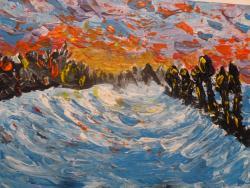 Picturi cu peisaje Apus la malul apei