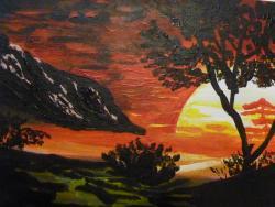 Picturi cu peisaje Copac in apus de soare